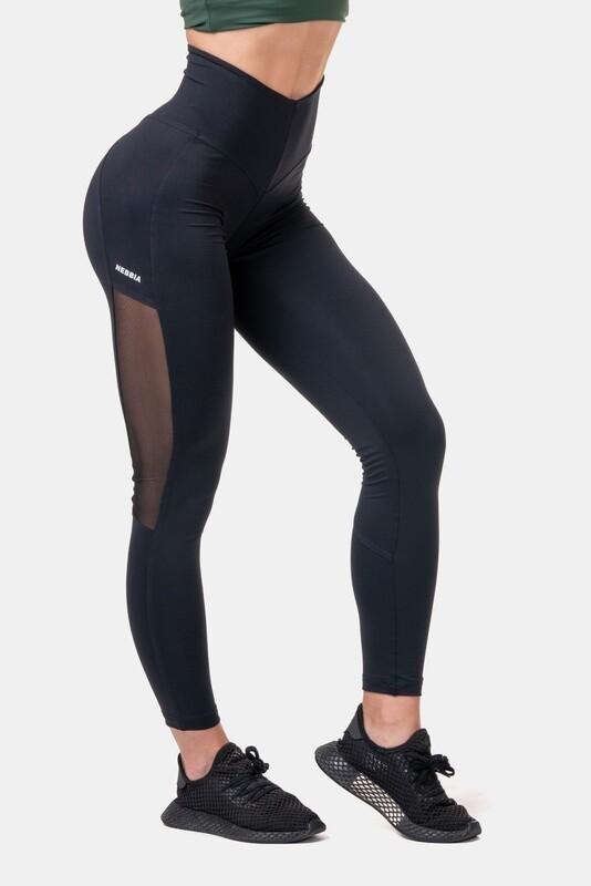 Легинсы женские High Waist & Mesh Leggings 573 Черные