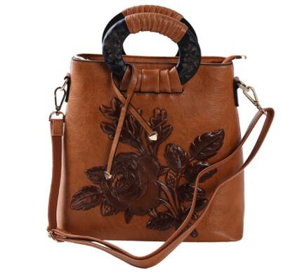 Cross body Messenger Embroidered Rose Shoulder Bag (Brown)