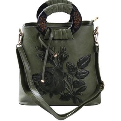 Cross body Messenger Embroidered Rose Shoulder Bag (Green)