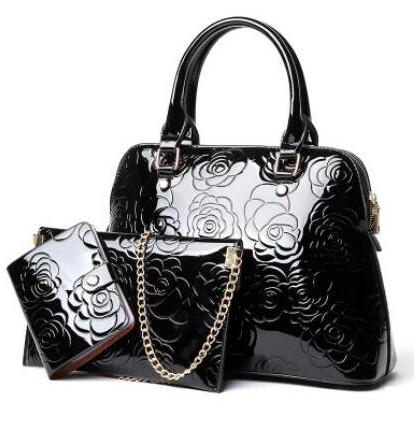 Floral Printing 3PCS Set Messenger Bag Shoulder Tote+Purse Clutch (Black)