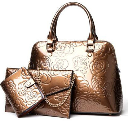 Floral Printing 3PCS Set Messenger Bag Shoulder Tote+Purse Clutch (Bronze)