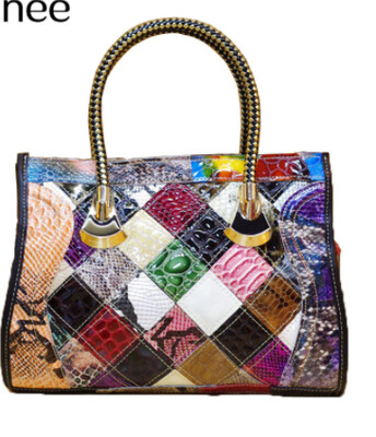 Genuine Leather Patchwork Snakeskin Handbag