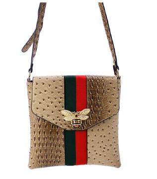 Gucci Inspired Crocodile (Bee Centered)Over the Shoulder Handbag  (Beige/Bronze)