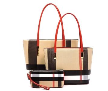 Burberry Inspired Design 3pc Handbag + Tote + Wallet