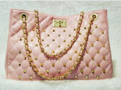 Rivet Chain Quilted Fashion Stitch Sac Pursenality Bag (Pink)
