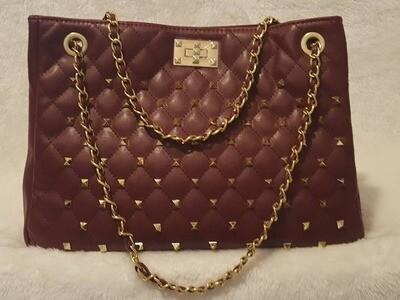 Rivet Chain Quilted Fashion Stitch Sac Pursenality Bag (Cranberry)