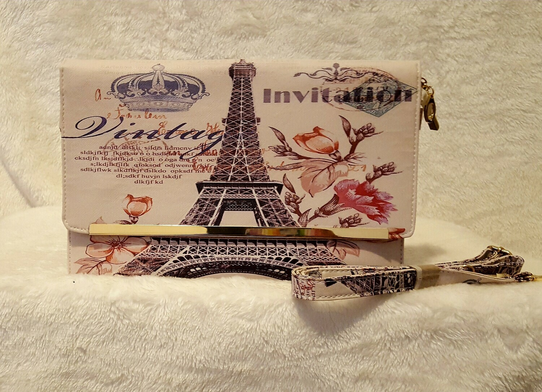 Paris Printed Ticket Clutch