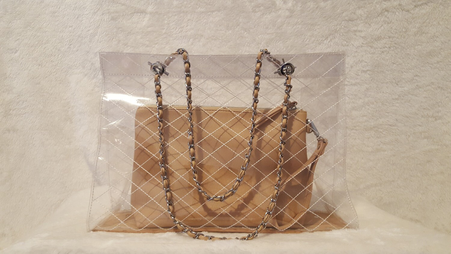 See Me in Style Over the Shoulder Chain Tote (clear tote w/beige makeup bag)