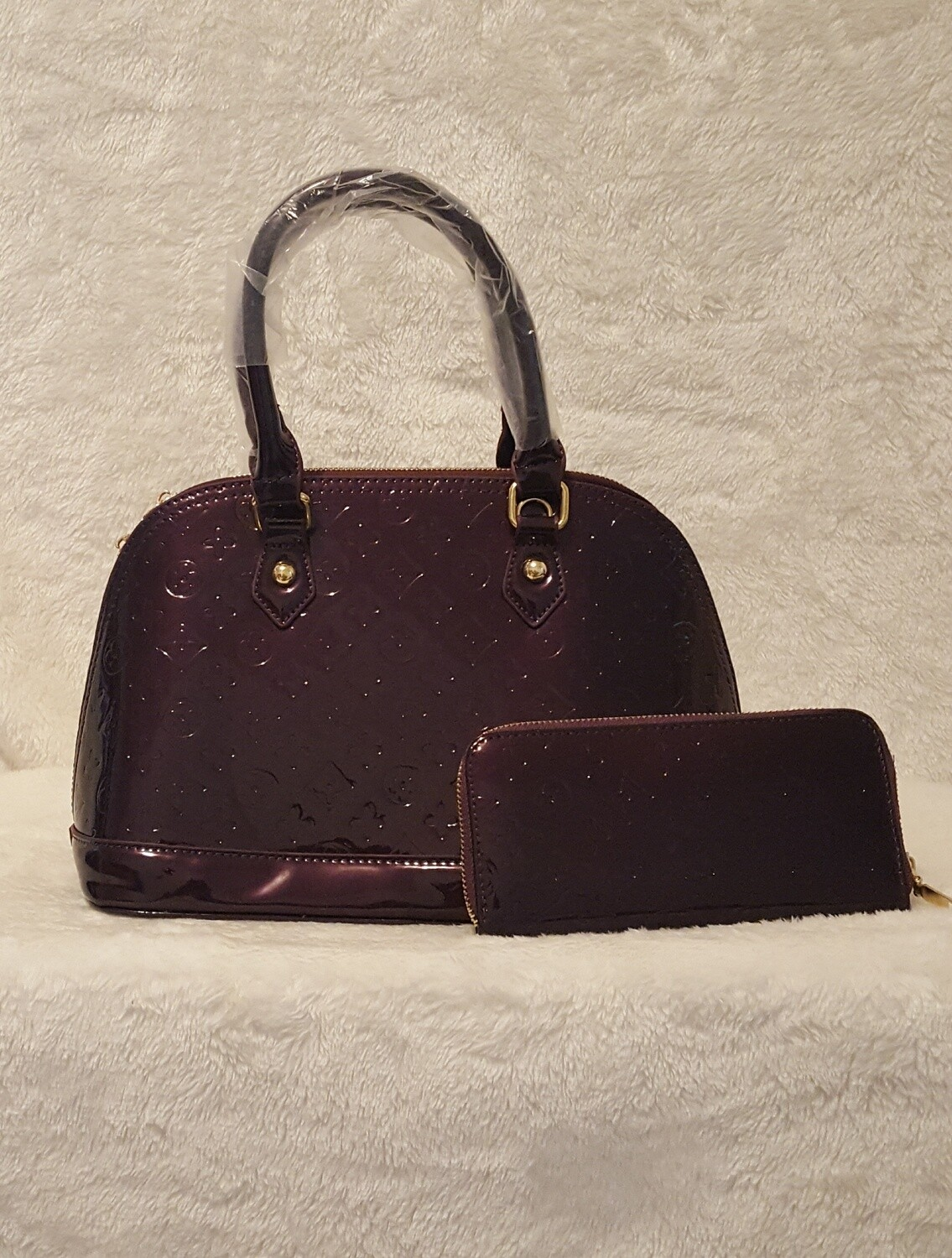 Designer Inspired Purple Handbag/Billfold Set