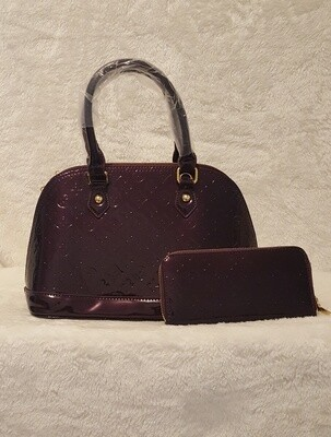 Designer Inspired Purple Handbag/Billfold Set