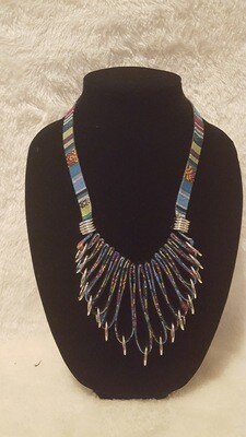 African Leather Cloth Ethnic Artist Necklace