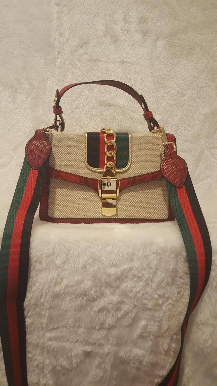 Inspired Crocodile Leather Print Flap Crossbody / Handbag