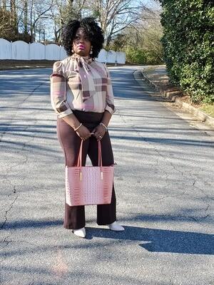 Pink Croc Brahim Inspired Handbag (Large)