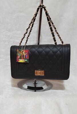 Designer Inspired Chanel Crossover Gold Chain (Black)