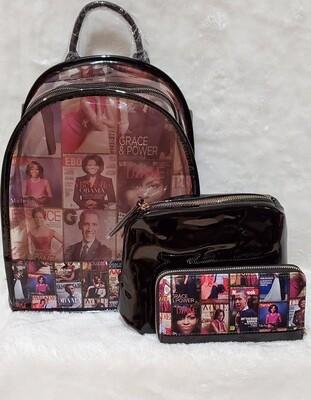 Royalty See Thru Obama Backpack Set (Black)