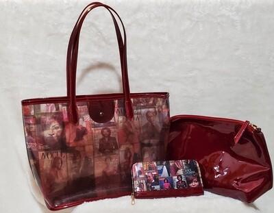 Red Clear See Thru Michelle Obama (3  Piece Set)