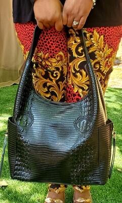 Designer Inspired Croc Hobo Pursenality  (Black)