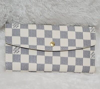 LV White/Gray Checkered Wallet