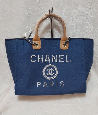 Denim Blue Pearl Studded Large  Chanel Deauville