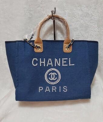 Denim Blue Pearl Studed Chanel