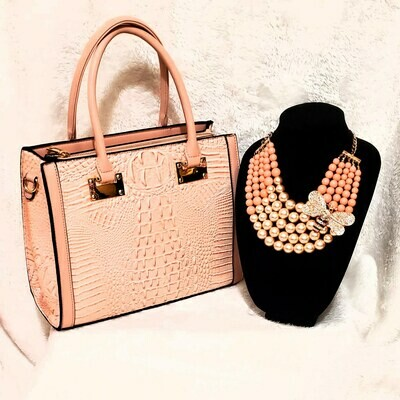Combo Necklace Earring Set Brahmin Inspired Bag (Peach)