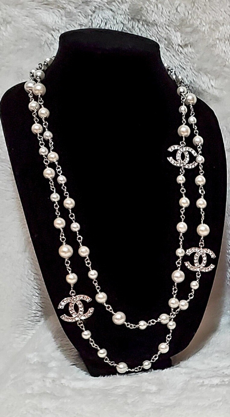 Chanel Long Pearl White Necklace