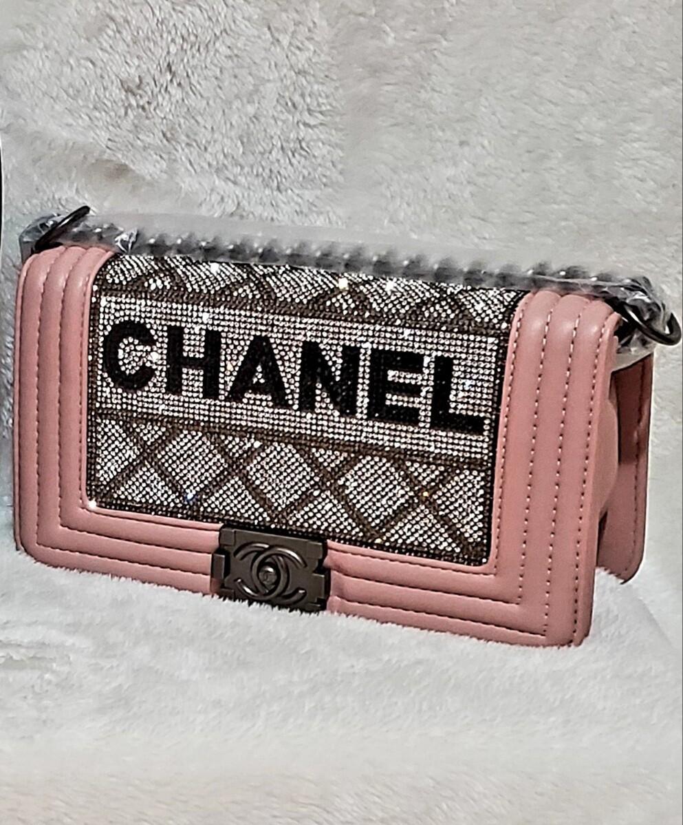 Chanel  Le Boy Rhinestone Chain Crossbody