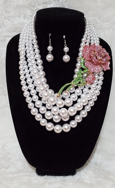 Pearls & Pink Rosed Set