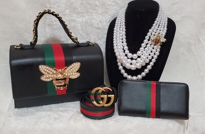 GG Insprired Bee Tote, Pearl Necklace Set. GG Belt