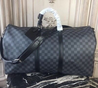 LV Checked Speedy  Black & Gray Duffle