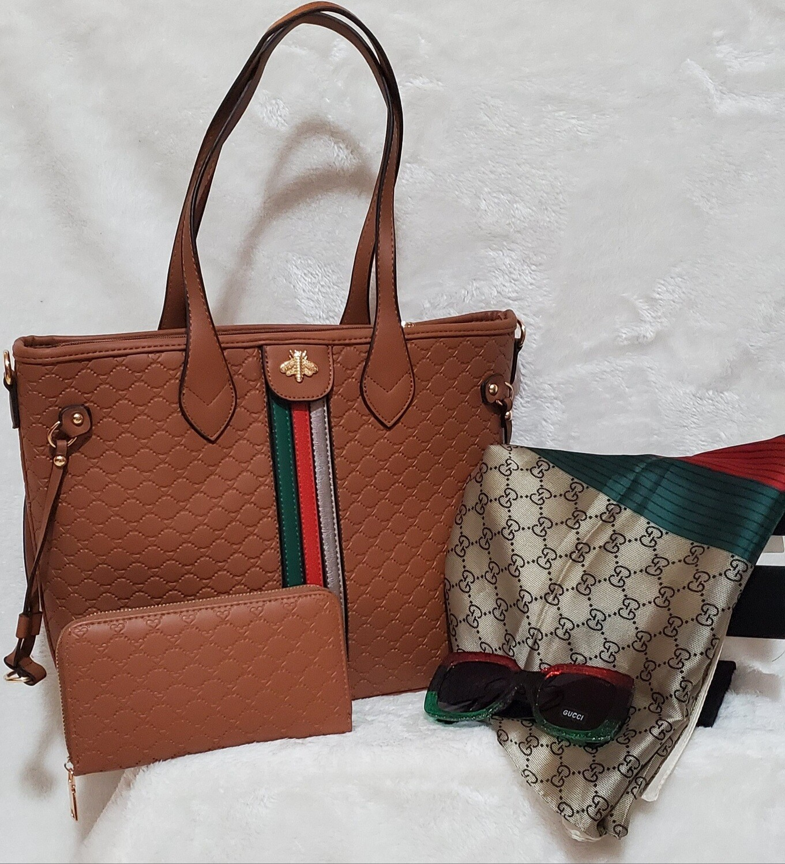 GG Inspired Handbag w Wallet/ GG Sunglasses/ GG 100% Silk Scarf