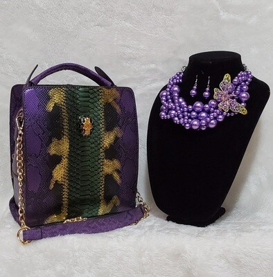 Purple Snake Skin Satchel with Royal Pearl Butterfly Necklace Set