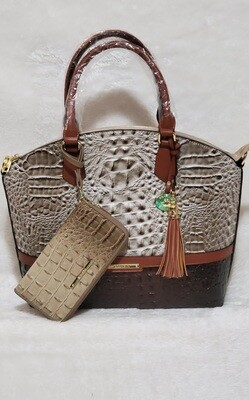 Brahmin Luxury Style Bag Grey/Carmel with Wallet