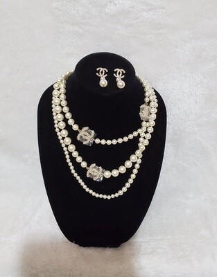 Chanel Necklace Earring Pearl Set