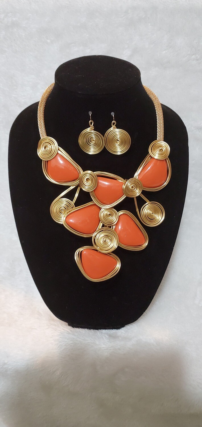 Orange Stoney Age Necklace/Earring Set