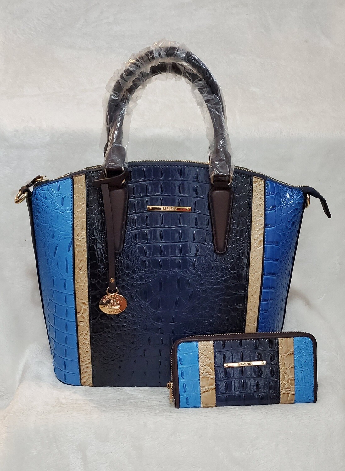 Brahmin Blue and Gold with Wallet