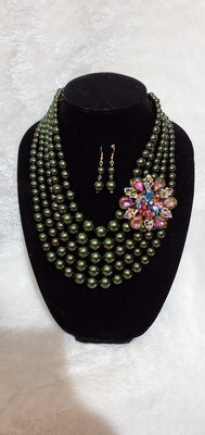 Army Green Crystal Floral Necklace Earring Set