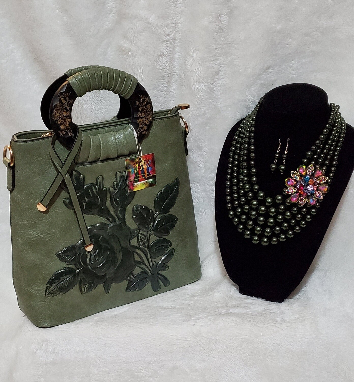 Forest Green Floral Handbag with Beaded Crystal Necklace Earring Set