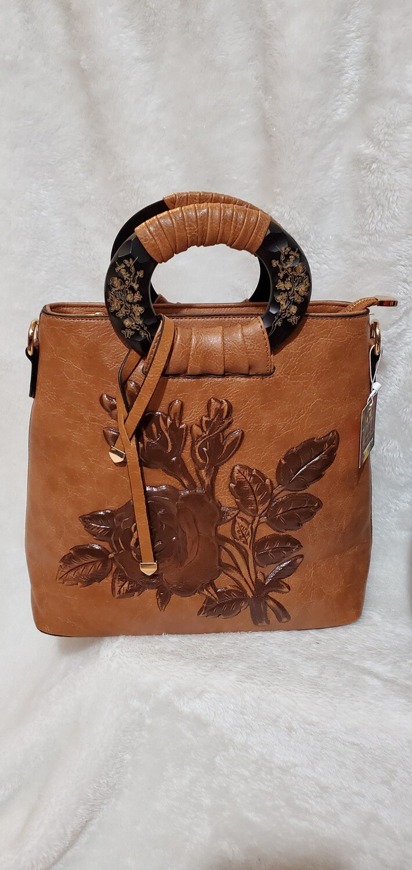 Carmel Brown Floral Handbag/Crossbody