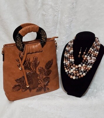 Carmel Brown Floral Handbag/Crossbody with Foxy Brown Beaded Pearl Necklace Earring Set