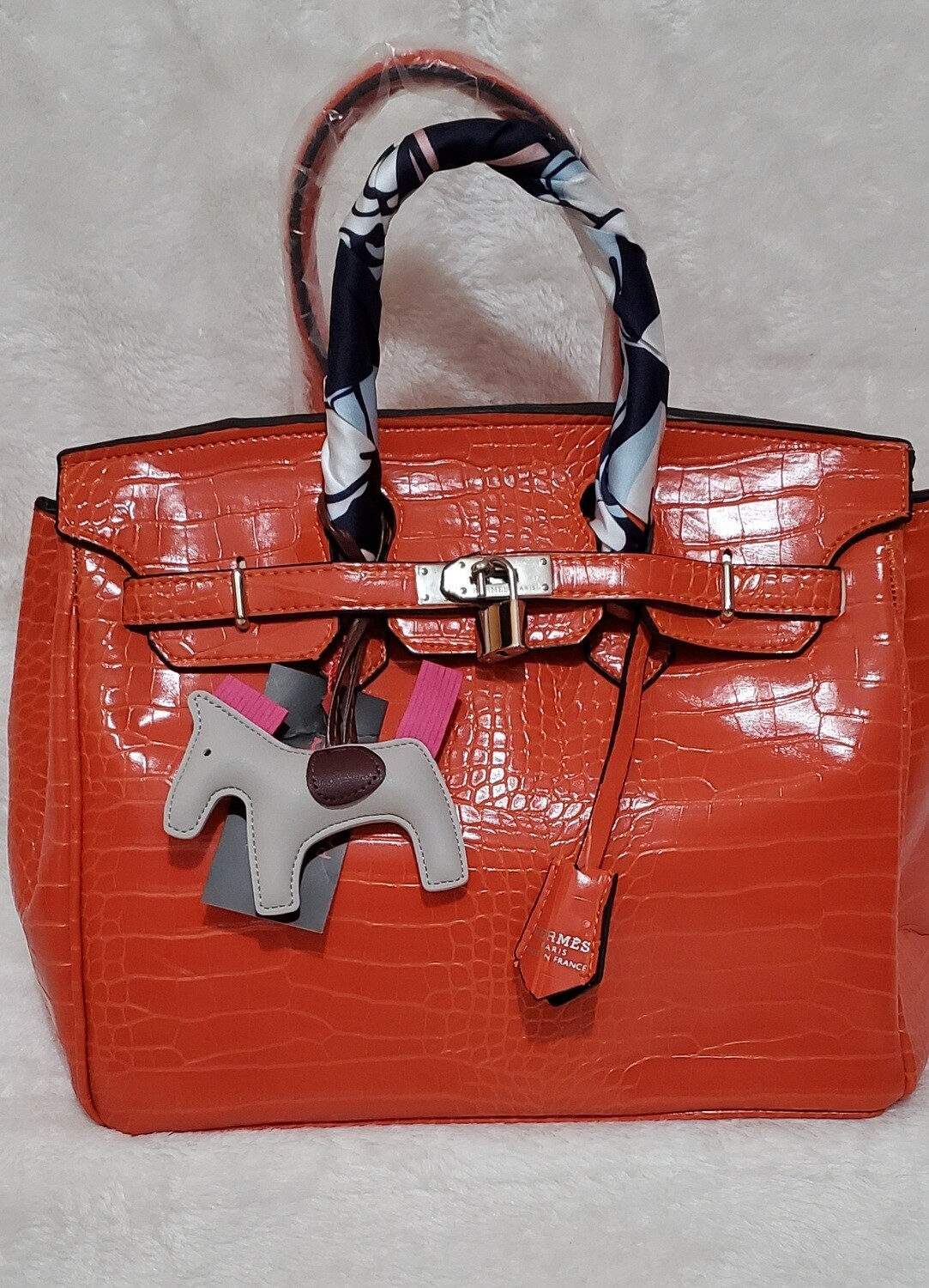Orange  Satchel with Gri Gri Bag Charm