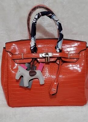 Orange  Satchel with Gri Gri Bag Charm