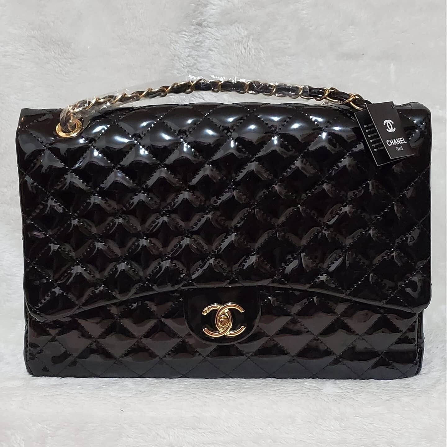 CC Quilted Patent  Leather Large Shoulder Bag