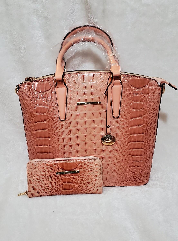 Salmon Pink Croc Satchel/ Wallet