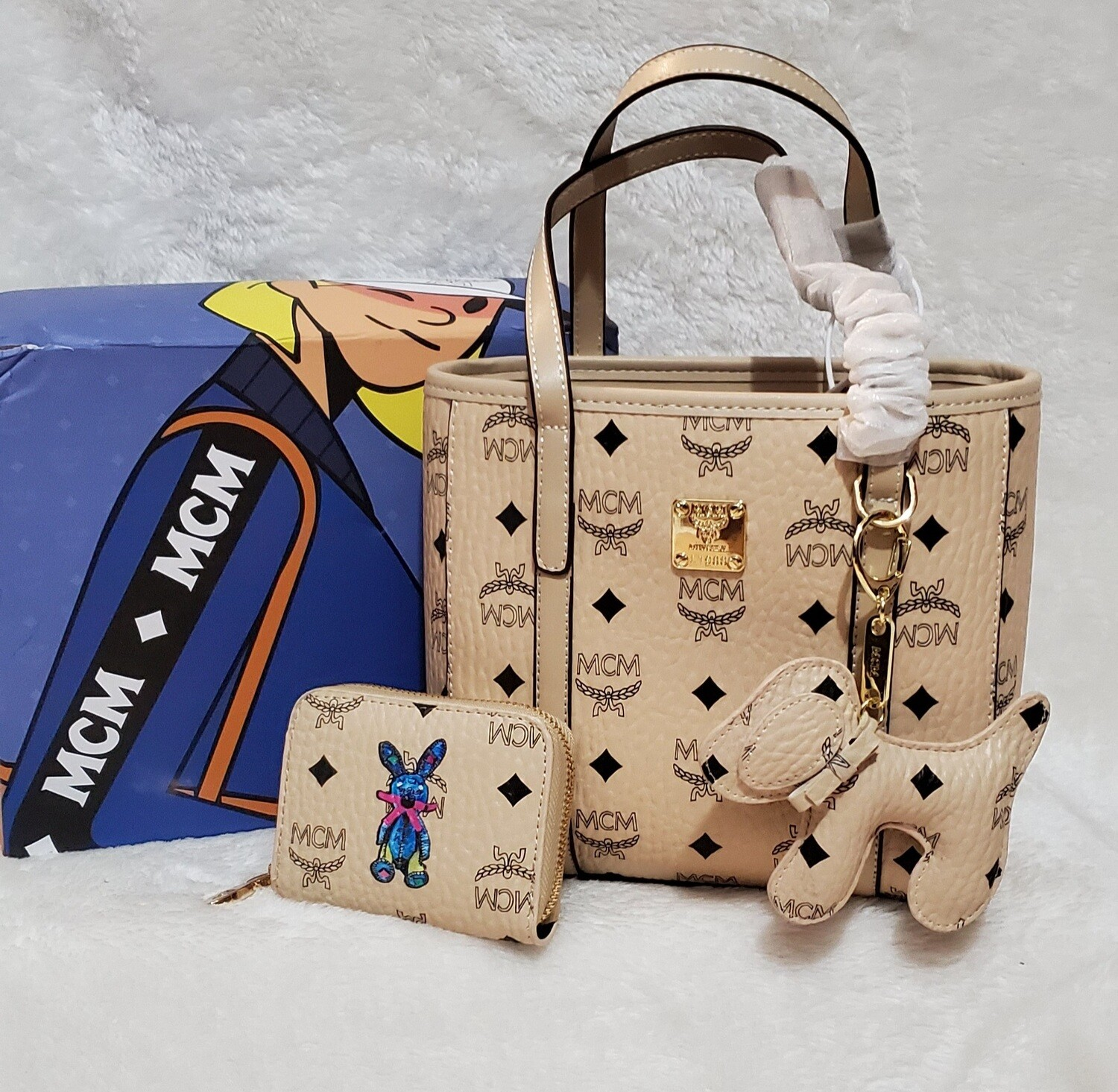 MCM Tote/Crossbody Strap includes Dog charm and coin purse...LIMITED EDITION