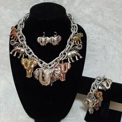 Elephant 🐘 Multicolor Necklace and Bracelet Set
