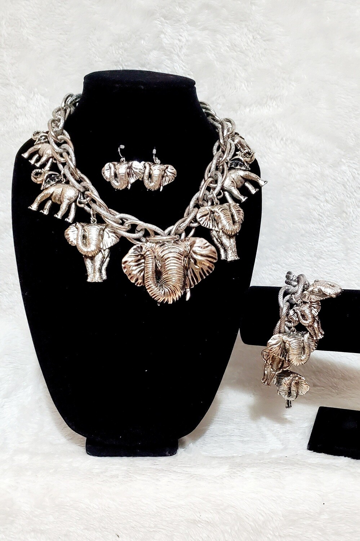 Elephant Silver Necklace Set w/ Bracelet
