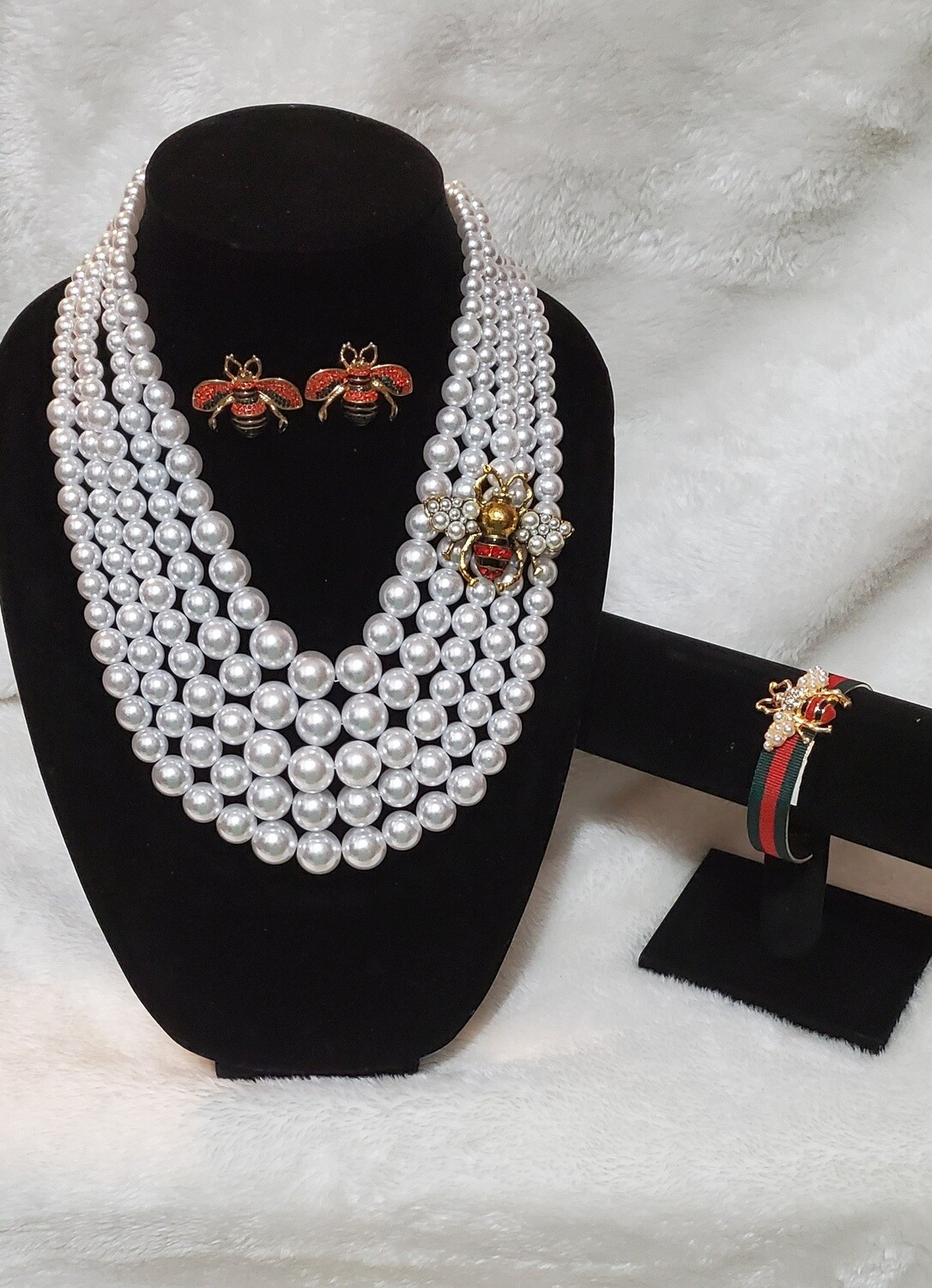 Bee Pearl Set includes Bracelet Brooch and Bee Earrings
