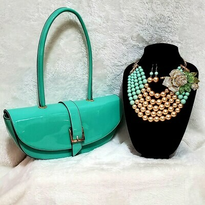 Tiff Blue Bundle Includes Necklace Set w/brooch