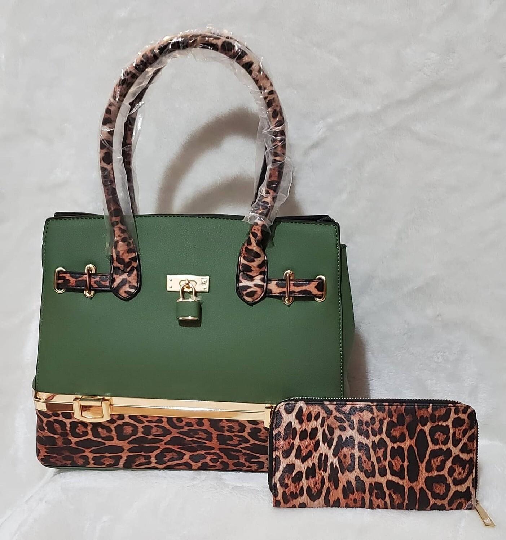 Olive Green Leopard Print Satchel w/ wallet